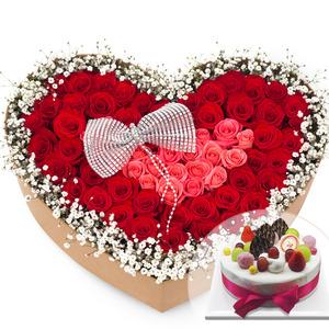안개하트꽃박스(케익랜덤무료증정)