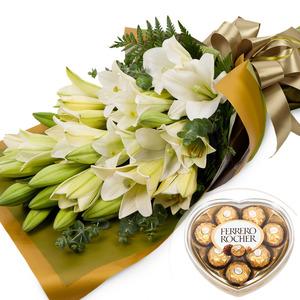 백합꽃다발(초코렛무료증정)