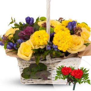 노랑혼합꽃바구니(코사지1개무료증정)